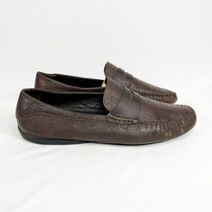 GUCCI Men's Brown Leather GG Embossed Mono Loafers